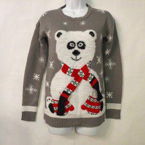 Ugly Christmas sweater Small Polar bear Gray Snow